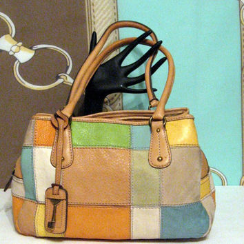 Vintage Fossil Leather Color Block Purse Satchel Bag