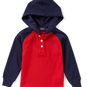 Ralph Lauren Childrenswear Little Boys 2T-7 Color Block Waffle-Knit Hoodie | Dillards