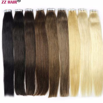 """ZZHAIR 30g-70g 14"""" 16"""" 18"""" 20"""" 22"""" 24"""" Non-remy Tape Hair 100% Human Hair Extensions 20pcs/pack Tape In Hair Skin Weft"""