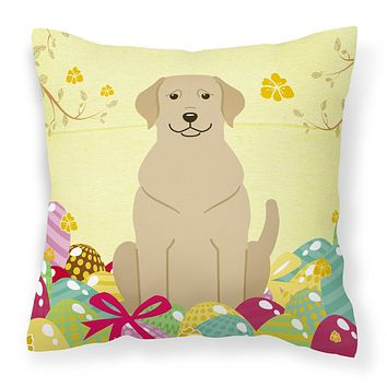 Easter Eggs Yellow Labrador Fabric Decorative Pillow BB6055PW1414