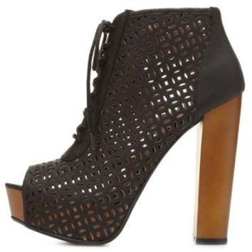 Laser Cut Peep Toe Booties by Charlotte Russe