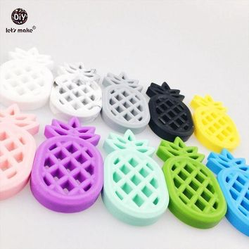 VONG2W Let's Make Baby Ananas Nursing Accessories 10pc Silicone Pineapple Materials Diy Crafts Silicone Teether Baby Diy Pendant