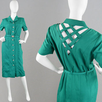 Vintage 80s Teal Shirtdress Cut Out Dress Open Back Dress 1980s Wiggle Dress Military Dress Cutwork Dress Secretary Dress Sexy Safari Dress