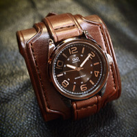 Leather cuff watch wrist watch vintage Nathan Drake style wide layered Custom made for YOU in NYC by Freddie Matara