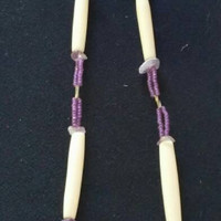 Hand Carved Wampum Inlay and Fully Beaded Medallion on Decorative Chain with Amethyst Beads and Bone Piping