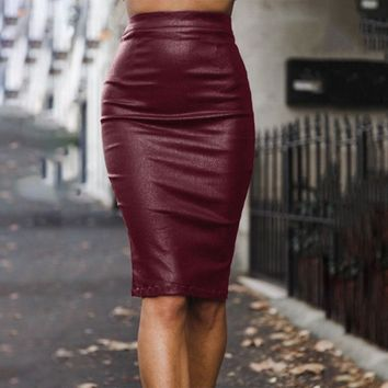 Women New Bodycon Faux Leather High Waist Midi Pencil Skirt Back Split Dress USA