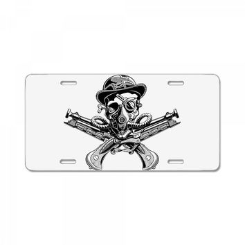 skull hat crossed pistols pirate License Plate