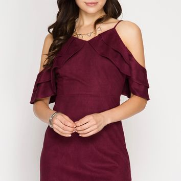 Women's Cold Shoulder Fitted Faux Suede Dress