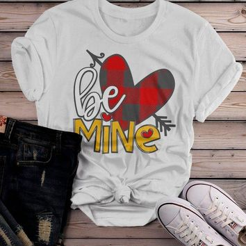 Women's Valentine's Day T Shirt Be Mine Shirts Plaid Heart Valentines Shirts Arrow Tee
