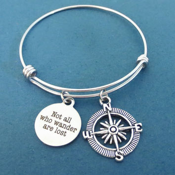 Not all who wander are lost, Compass, Silver, Bangle, World, Traveller, Wanderer, Bangle, Bracelet, Friends, Birthday, Gift, Jewelry