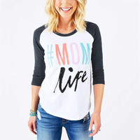 "Women's Colorful ""Mom Life"" Baseball T-Shirt Style Top"