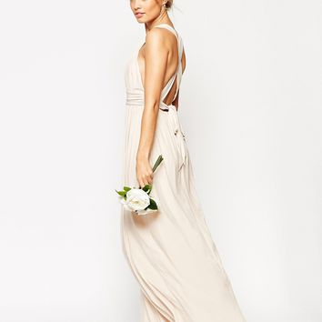 ASOS WEDDING Ruched Double Strap Maxi Dress