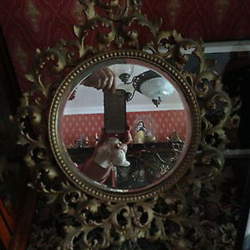 Antique Vintage Brass Victorian Elaborate Ornate Dressing Table Mirror