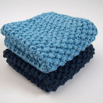 hand knit plushy cotton washcloth set in light sky and dark denim blue