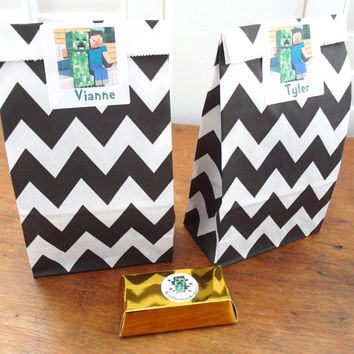 Black and White Chevron Bags with Gusset - Set of 20
