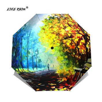 LIKE RAIN Oil Painting Female Umbrella Rain Women Folding Parasol Abstract Art Design Umbrellas Anti-UV Sun Kids Umbrellas YHS02