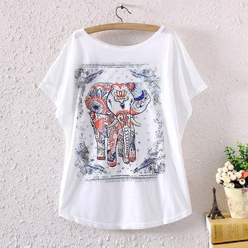 Women Batwing Short Sleeve Porcelain Elephant Graphic Print Loose T Shirt Tee To (Color: White) = 1945676996