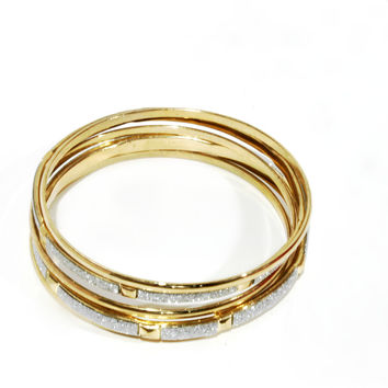 """Sparkle On"" Gold and Silver Bangle Bracelet Set"