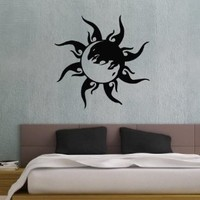 Taoism (Daoism) Symbol Yin and Yang Tribal Sun Wall Vinyl Decal Art Sticker Home Modern Stylish Interior Decor for Any Room Smooth and Flat Surfaces Housewares Murals Window Graphic Bedroom Living Room (3664)