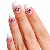 NCAA Texas A&M University Fingernail Tattoos