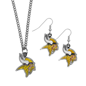 Minnesota Vikings Dangle Earrings and Chain Necklace Set