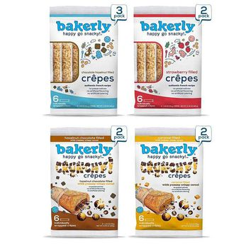 bakerly Filled Crepes Variety Pack of 9, 6-Count (54 Total Crepes)