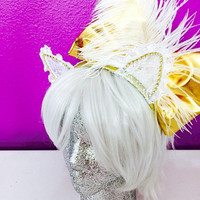 White lace cat ears with big gold bow and feather / headband / EDC / cosplay