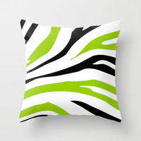 Black and Lime Green Zebra Stripes Print Throw Pillow by Bee :)