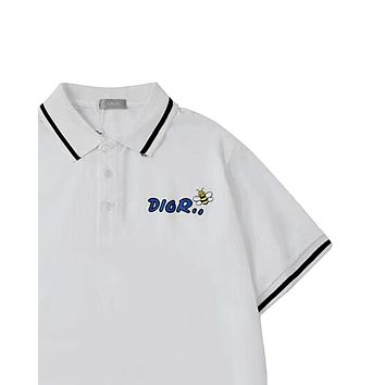 Dior 2019 new embroidered letter bee lapel Polo short sleeve white