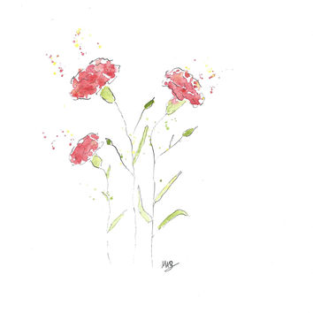 Original Watercolor Carnation Flower Painting