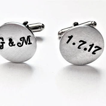 Personalized cufflinks, wedding cufflinks, custom cufflinks, wedding date, Groom gift from Bride, initials cuff links, wedding gift for him
