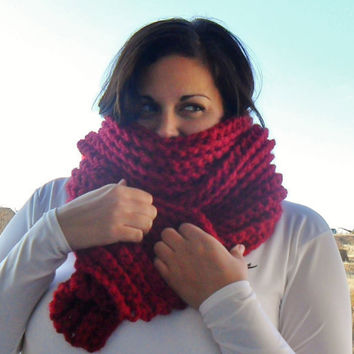 Crochet CHUNKY Ribbed Scarf  Deep Red  Made by SoLaynaInspirations