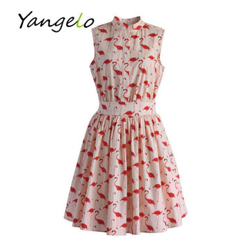 Vestods Summer Style 2017 Women Dress Strawberry Cactus Flamingo Fun Flare Prints Casual High Waist Cute A Line Mini Dress