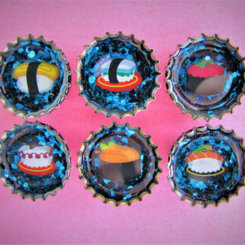 Sushi Blue Confetti Upcycled Bottle Cap Resin Magnets Handmade Recycled Reclaimed Repurposed Ceramic Magnet