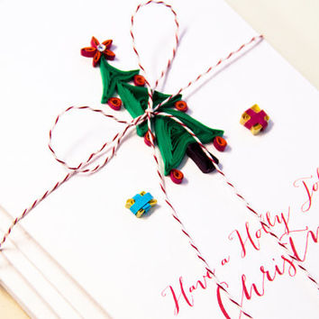 Christmas Card Set - Holiday Card Set - Set of 5 - Quilling Card Set
