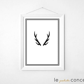 Scandinavian Poster, Antler Print Art, Minimalistic Wall Art, Modern Home Decor, Minimalist Illustration,Digital Print Art, Instant Download
