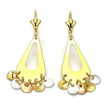 Gold Layered 02.32.0198 Chandelier Earring, Diamond Cutting Finish, Tri Tone