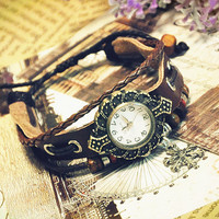 Wristwatch Handmade Wrist Watches Snow Pendant Vintage Ladies Girls Womens Mens Leather Bangle Beaded Bracelet Quartz (GA0017)