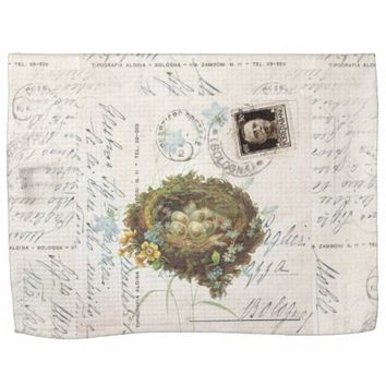 Vintage Bird Nest Italian Postcard Towel