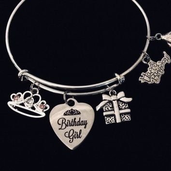 Happy Birthday Girl Expandable Charm Bracelet Silver Adjustable Bangle Trendy One Size Fits All Gift Princess Tiara Present Cupcake