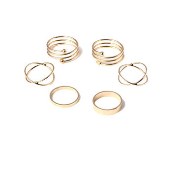 Mid Finger Rings Top Stacking Rings Three Pieces Set For Women Punk Gold Plated Stackable Spiral Nail Knuckle Rings R100