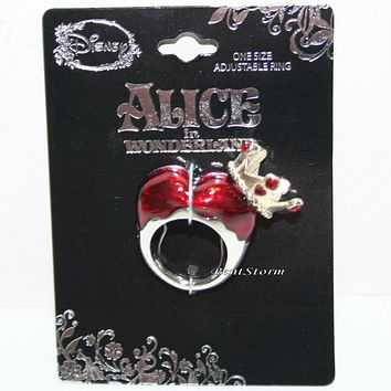 Licensed cool Disney Red Queen Of Hearts ring Crown costume Adjustable Alice In Wonderland