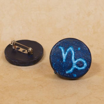 Capricorn Pinback Button, Zodiac Pin, Zodiac Button, Capricorn Button, Capricon Pin, Zodiac, Constellation Pin, Astrology Pin, Astronomy Pin