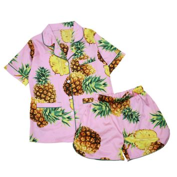 Fashion Short Sleeve Shorts Pineapple print Casual Pajamas Suit