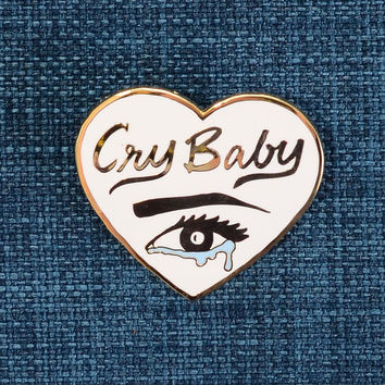 Cry Baby Heart Shaped Enamel Pin