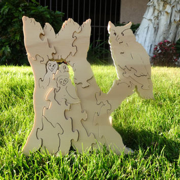 Wooden Owl Family Puzzle