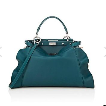 Fendi Wave Medium Peekaboo Teal Blue Bag