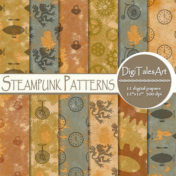 "Steampunk digital paper ""Steampunk Patterns"" scrapbook papers, gear, dirigible, bycicle, watch, steampunk background, steampunk wallpaper"