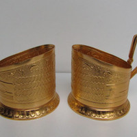 Vintage Set of 2 Russian Gold Podstakan Tea and cofe,Traditional Gold Soviet Holder (Podstakan) Hot Drinks, Russian Retro Home Decor for Tea