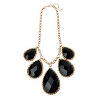 Buy Adele Marie Teardrop Stones Chunky Flat Chain Necklace, Gold / Black | John Lewis